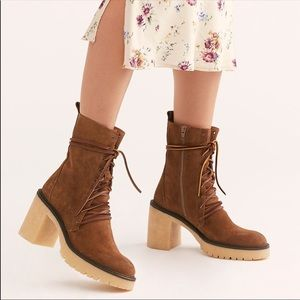 FREE PEOPLE DYLAN Brown Lace Leather Boots
